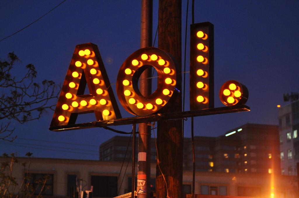 AOL sign at AOL Music Showcase