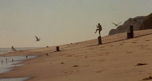 """Mr. Myiagi poses in """"crane"""" position from the 1984 film """"The Karate Kid"""""""