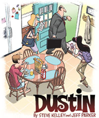 """The title panel from the comic """"Dustin"""""""